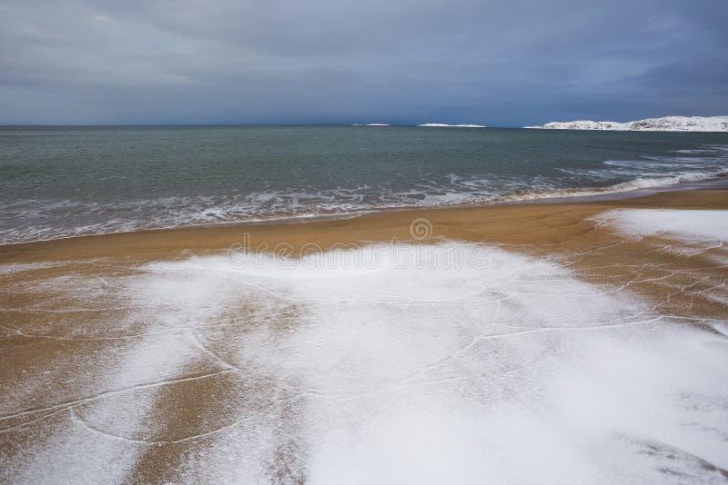 Barents morze Kola p??wysepu zimy krajobraz obraz stock