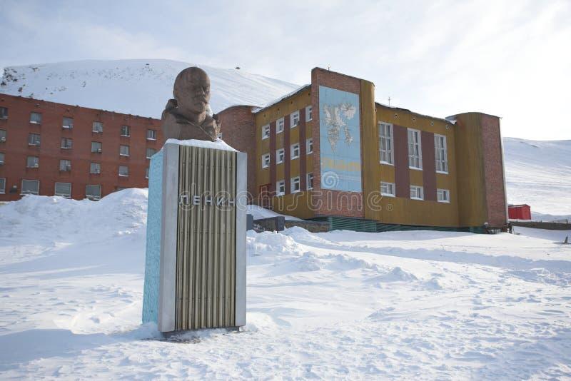 Barentsburg - città russa artica - Lenin fotografia stock
