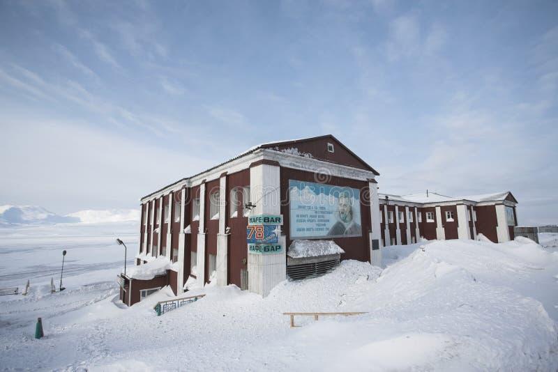Barentsburg - città russa nell'Artide fotografia stock