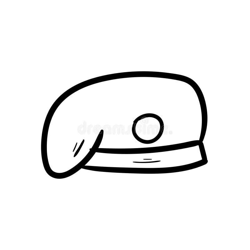 Barett-Armeegekritzelikonenvektor-Handzeichnung stockbild