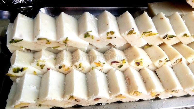 Barfi famous Indian sweets. stock photo