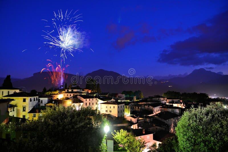Barga Lucca Tuscany Italy fajerwerki zdjęcie royalty free