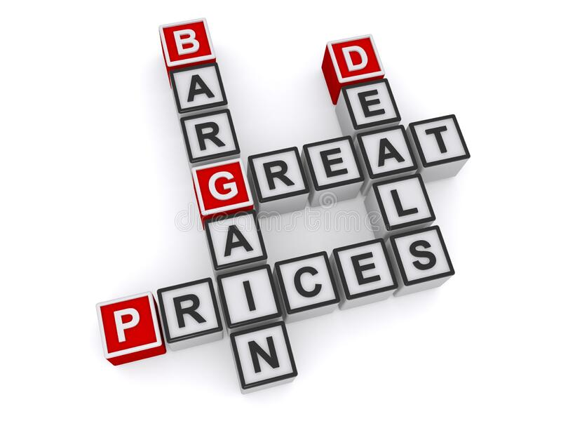 Bargain great deals prices stock photos