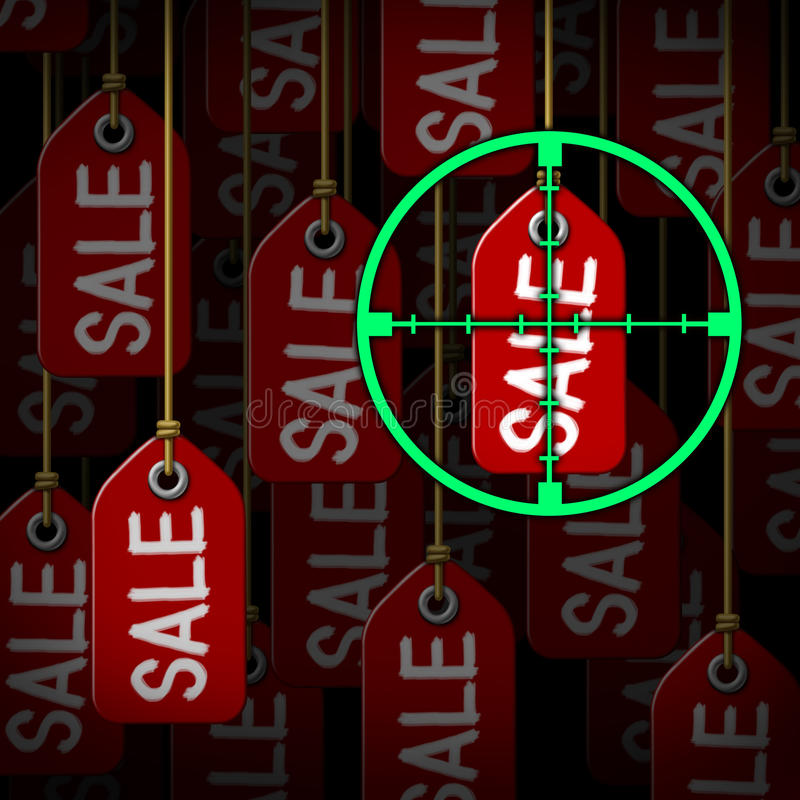 Bargain Hunter. And hunting for sales as a consumer concept with target crosshairs aiming at hanging price tags as a metaphor for smart shopping at stores or stock illustration