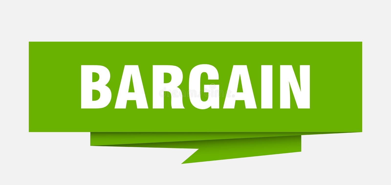Bargain. Sign.  paper origami speech bubble.  tag.  banner royalty free illustration