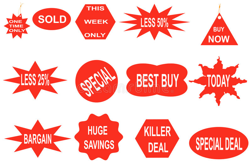 Bargain stickers. Set of twelve stickers indicating bargains vector illustration