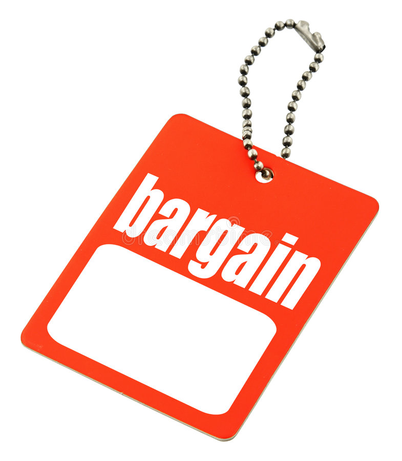 Bargain tag with copy space royalty free stock photos