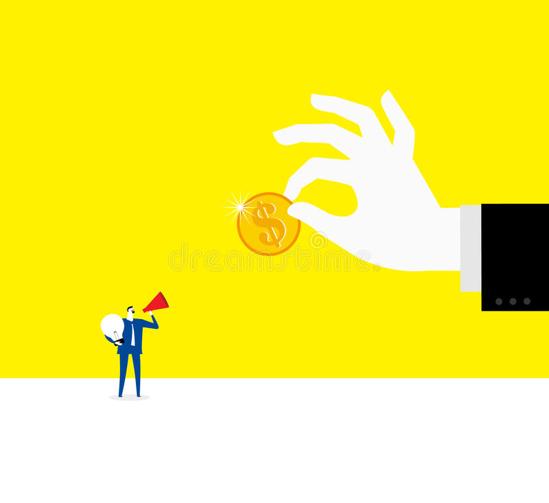 Bargaining for paying. A business man bargains for paying vector illustration