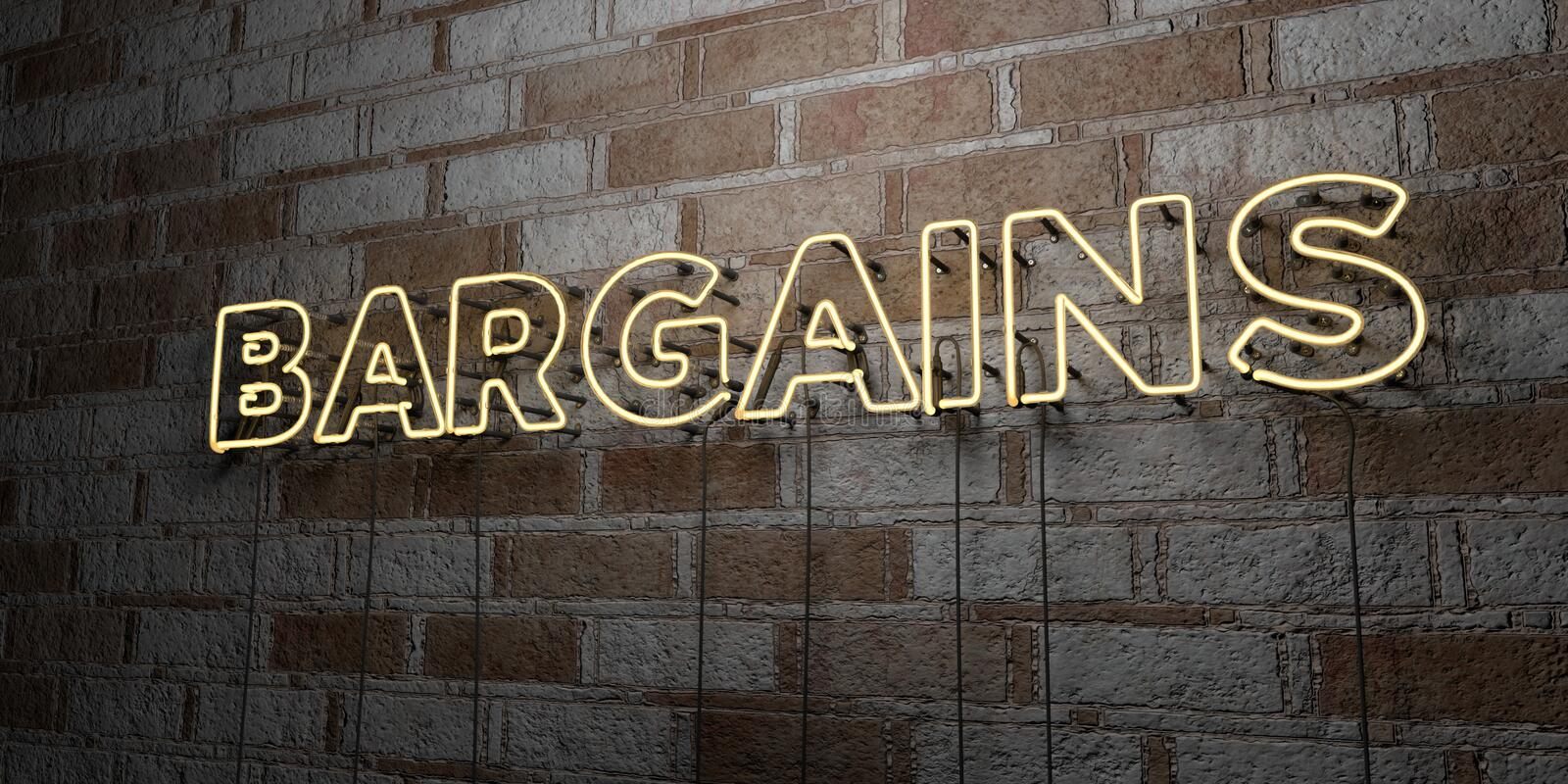 BARGAINS - Glowing Neon Sign on stonework wall - 3D rendered royalty free stock illustration. Can be used for online banner ads and direct mailers vector illustration