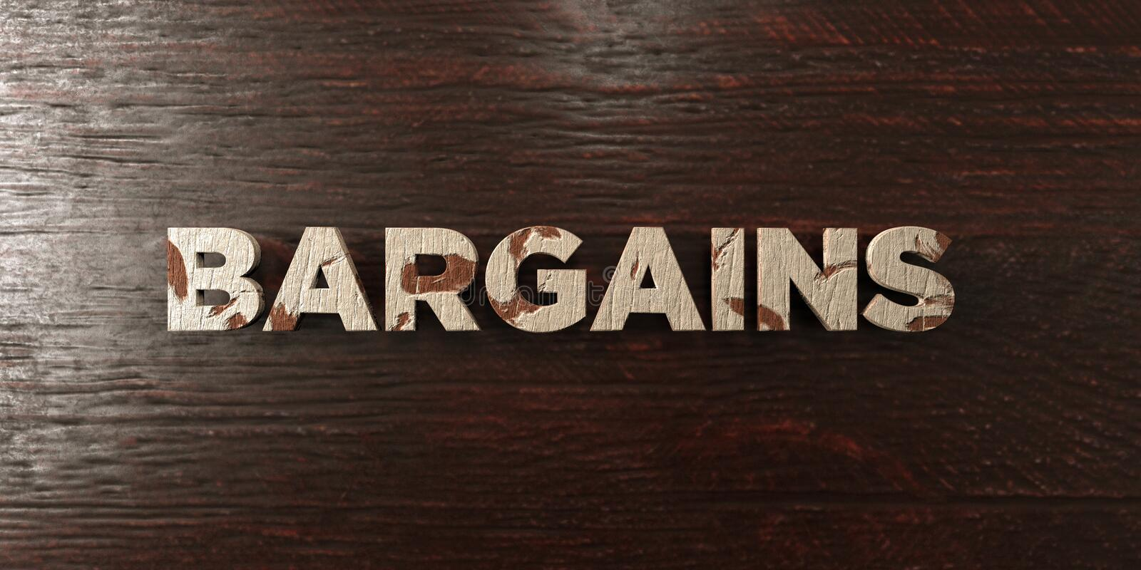 Bargains - grungy wooden headline on Maple - 3D rendered royalty free stock image. This image can be used for an online website banner ad or a print postcard royalty free illustration