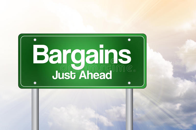 Bargains Just Ahead Green Road Sign. Concept stock illustration