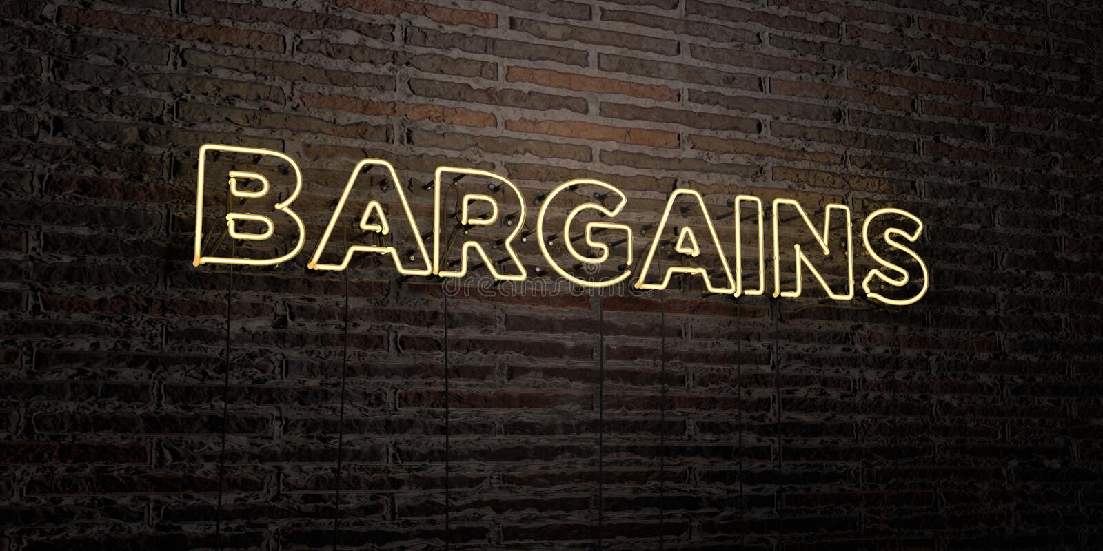 BARGAINS -Realistic Neon Sign on Brick Wall background - 3D rendered royalty free stock image. Can be used for online banner ads and direct mailers royalty free illustration