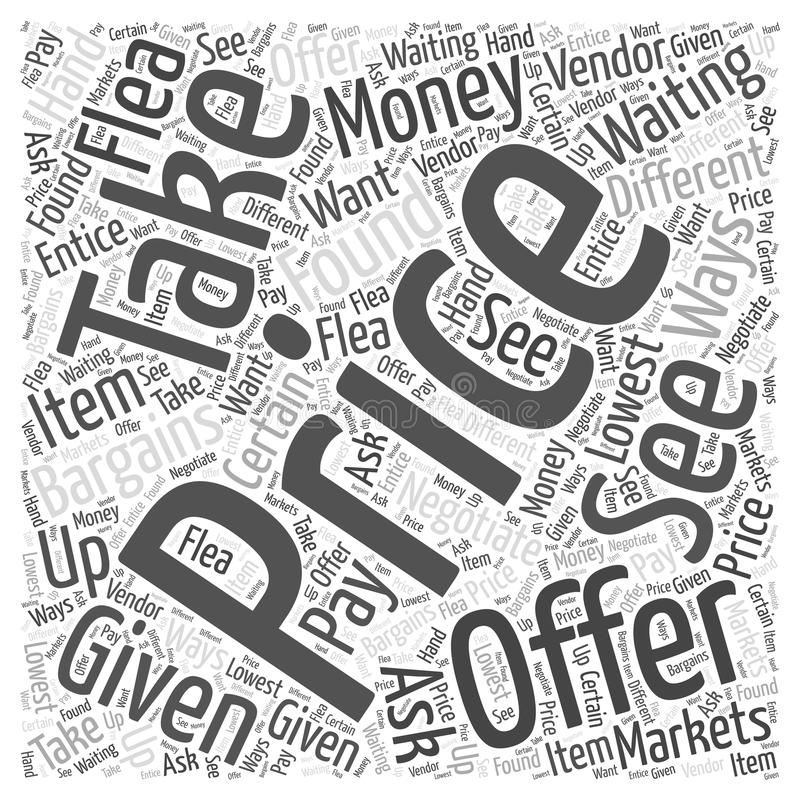 Bargains are waiting to be found at Flea Markets word cloud concept background. Text vector illustration