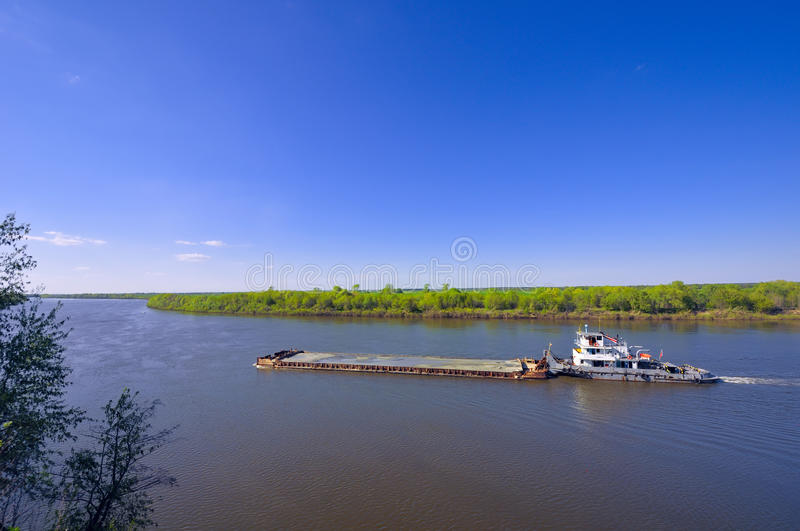 Download The Barge With Cargo On River In Sunny Day Stock Image - Image: 19572105