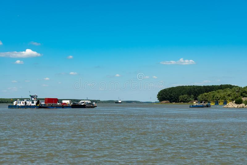 Barge on Danube Delta royalty free stock photos