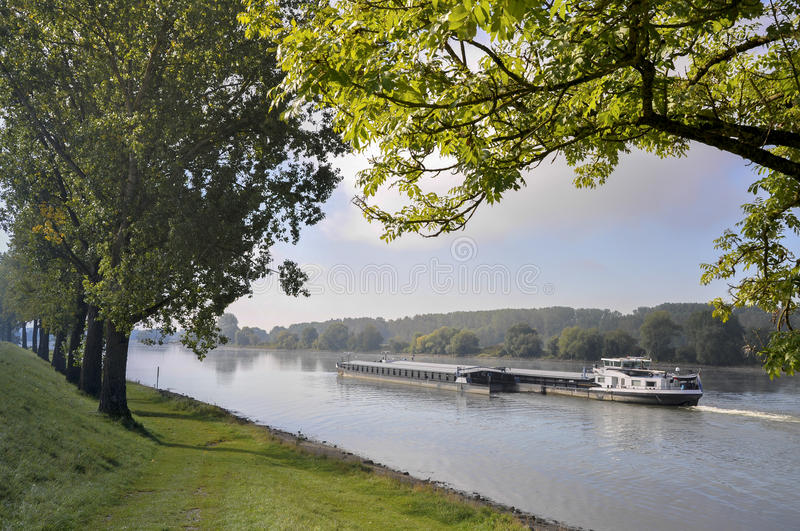 Barge on the Danube river. In Bavaria (Germany) at late summer stock photos