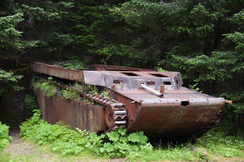 Barge de débarquement militaire de la deuxième guerre mondiale de Yakutat Alaska image stock