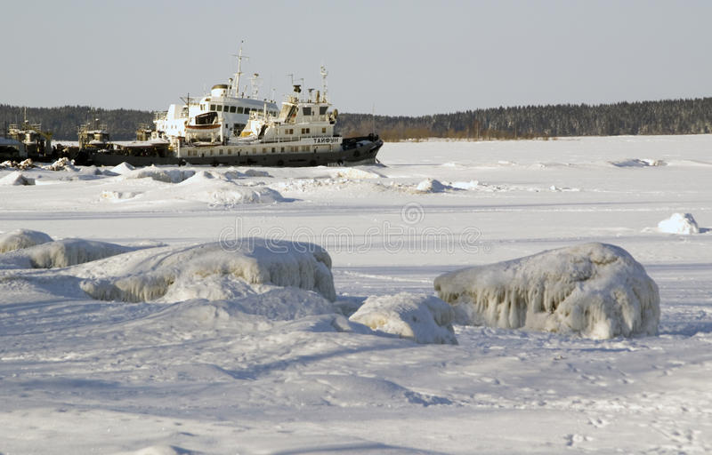 Download Barge Moored On The Bay In Winter Stock Images - Image: 30158634