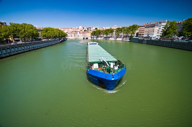 Lyon river Saone with barge stock images