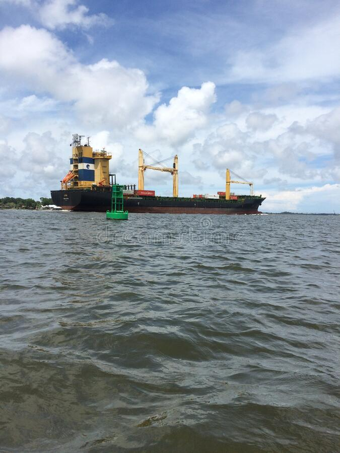 Florida Barge. A barge photographed in the historic Florida Intracoastal stock photos