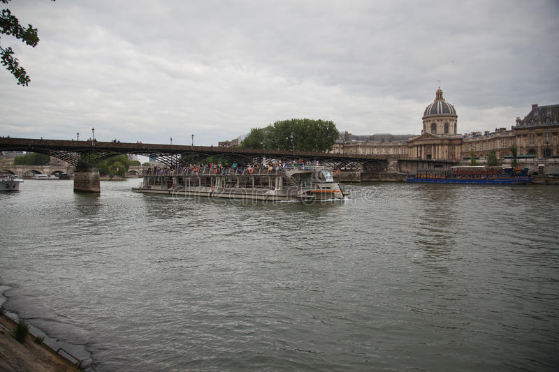 A barge on the river Seine, Paris stock photo