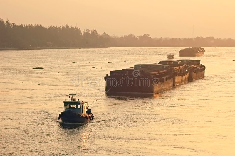 Download Barge tug stock image. Image of dawn, barge, haul, pull - 1585181