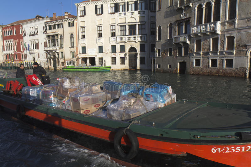 Download Barge in Venice editorial stock photo. Image of goods - 22423308