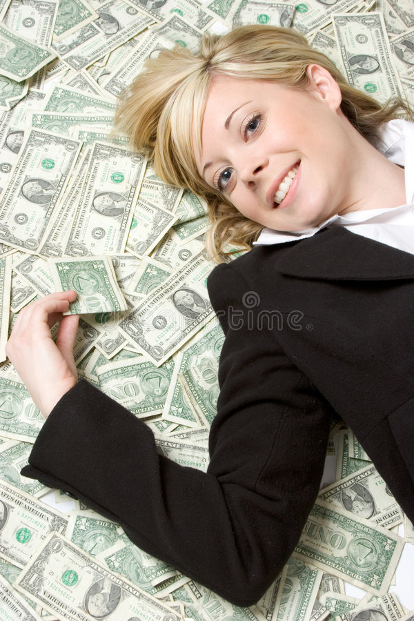 Bargeld-Frau lizenzfreie stockfotos