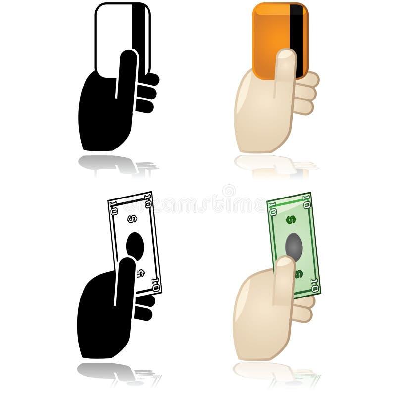 Bargeld-, Gutschrift- oder Schuldpostenzahlungsoptionen lizenzfreie abbildung