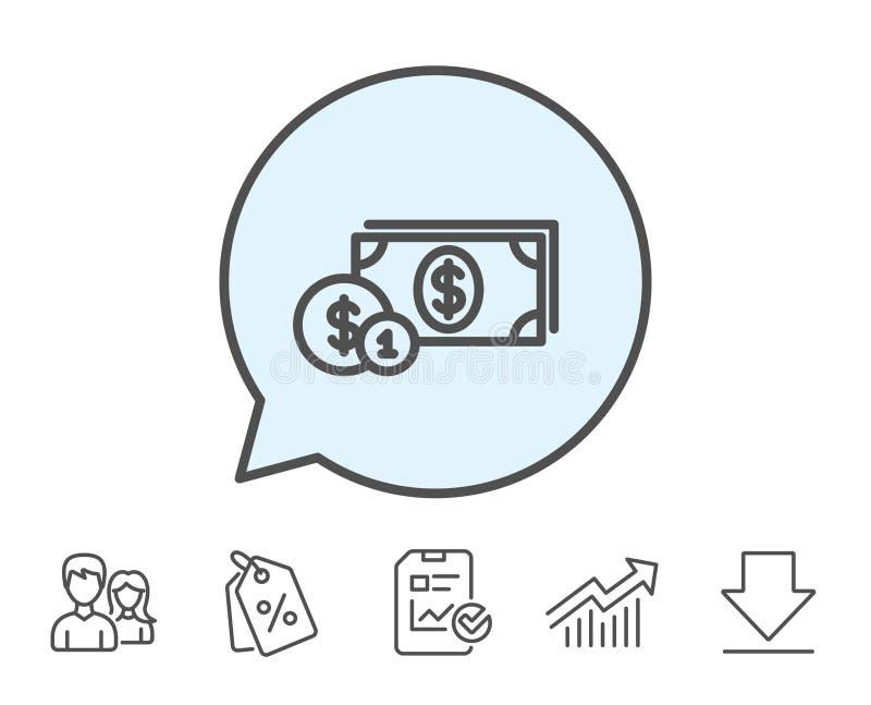 Bargeld mit Münzenlinie Ikone bankverkehr vektor abbildung