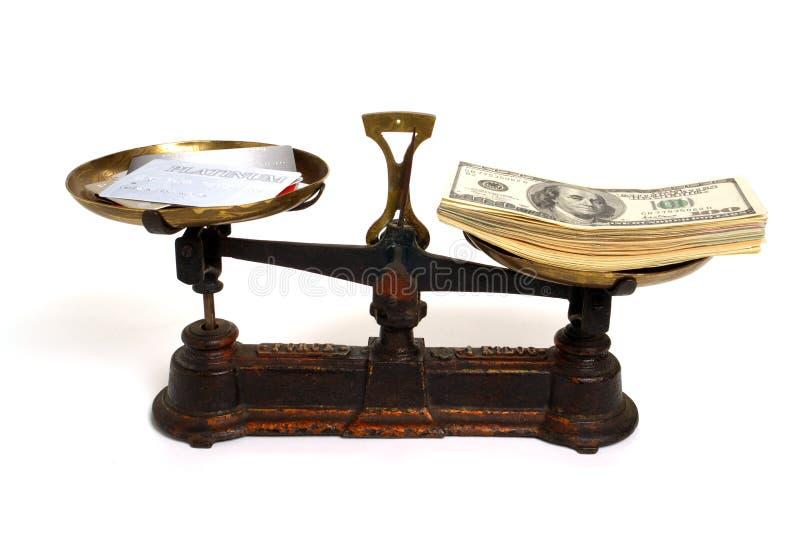 Bargeld oder Gutschrift stockfotos