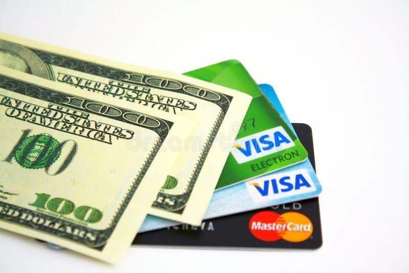 Bargeld und Karten stockfoto