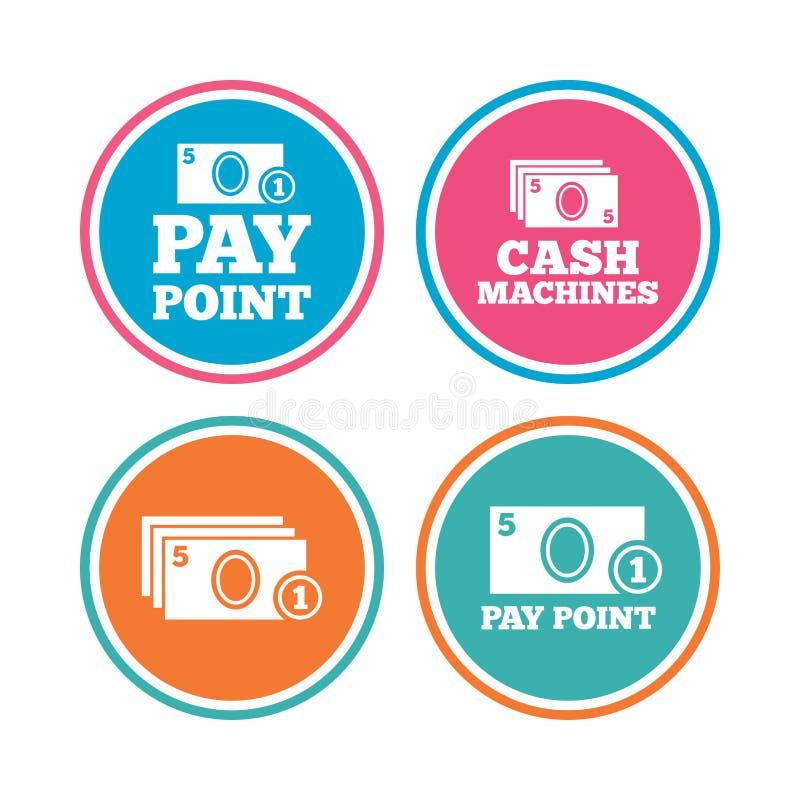Bargeld- und Münzenikonen Geldmaschinen oder ATM vektor abbildung