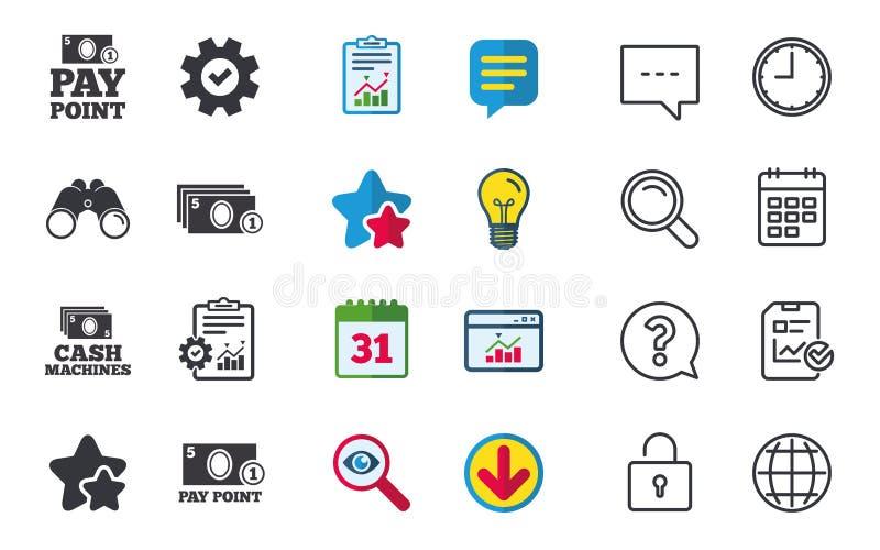 Bargeld- und Münzenikonen Geldmaschinen oder ATM stock abbildung