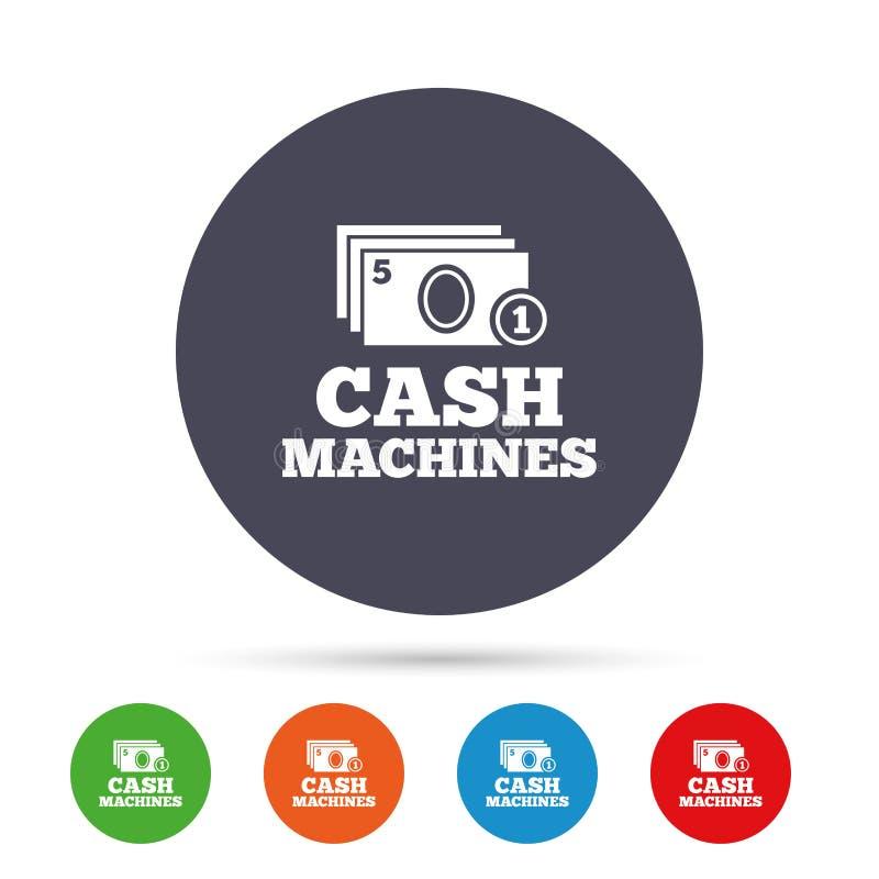Bargeld- und Münzenmaschinenzeichenikone Papiergeld stock abbildung