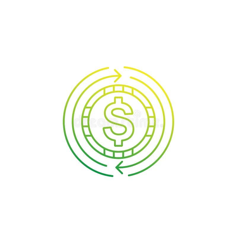 Bargeld zurück, Geldrückerstattung oder Austauschikone, linear lizenzfreie abbildung