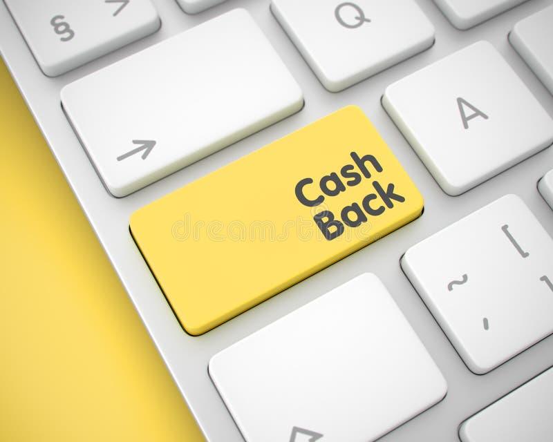 Bargeld-zurück- Mitteilung auf dem gelben Tastatur-Knopf 3d lizenzfreie abbildung