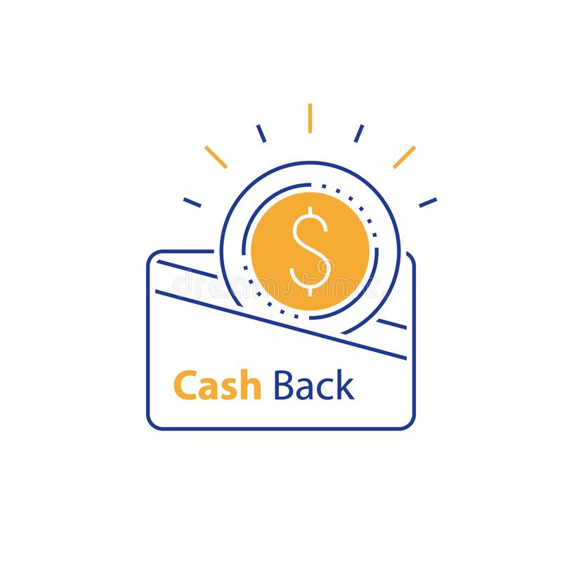 Bargeld zurück, Währungskreditkarte, schnelles einfaches Darlehen, das Loyalitätskonzept, Prämie sammelnd, erwirbt Belohnung, Lin lizenzfreie abbildung