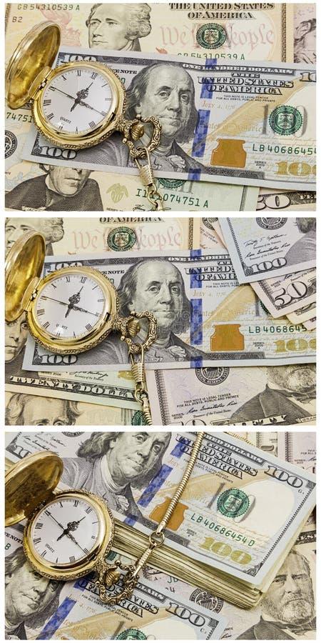 Bargeldbanknoten-Taschenuhr-Zeitmanagementcollage stockfoto