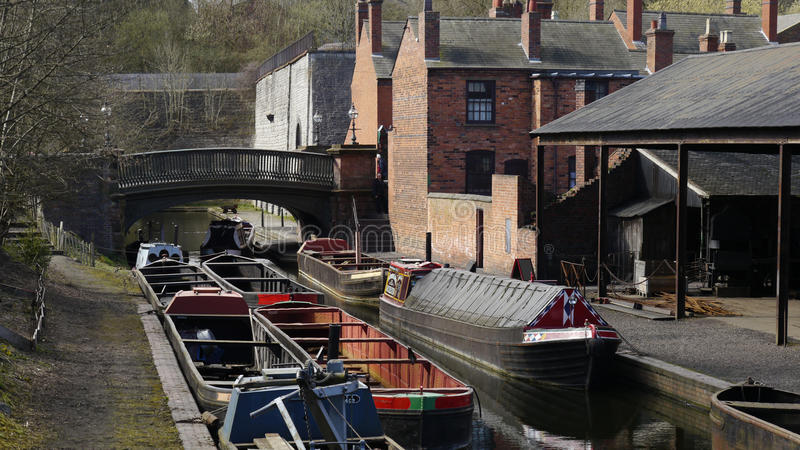 Barges at the Black Country Living Museum. The Black Country Living Museum, Dudley, UK, gives a picture of the life of people in Midlands at the time of the stock image