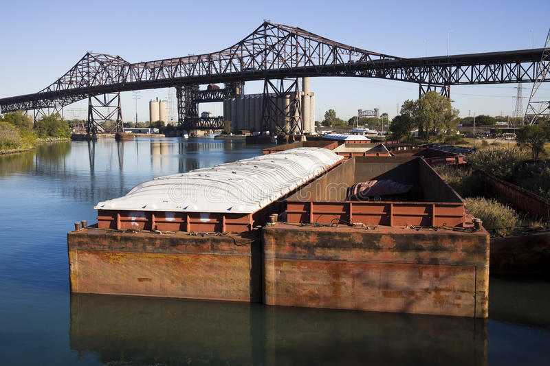 Download Barges in Chicago stock photo. Image of boat, skyway - 16448244