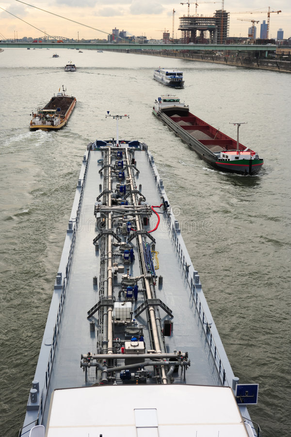 Barges on river Rhine. At Cologne, Germany stock image