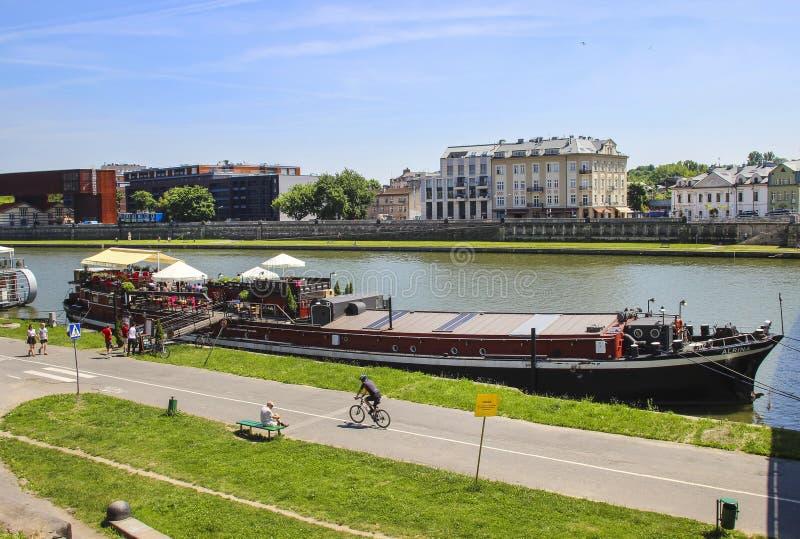 Wisla Krakow: Barges On Wisla River, Krakow Poland Editorial Photography