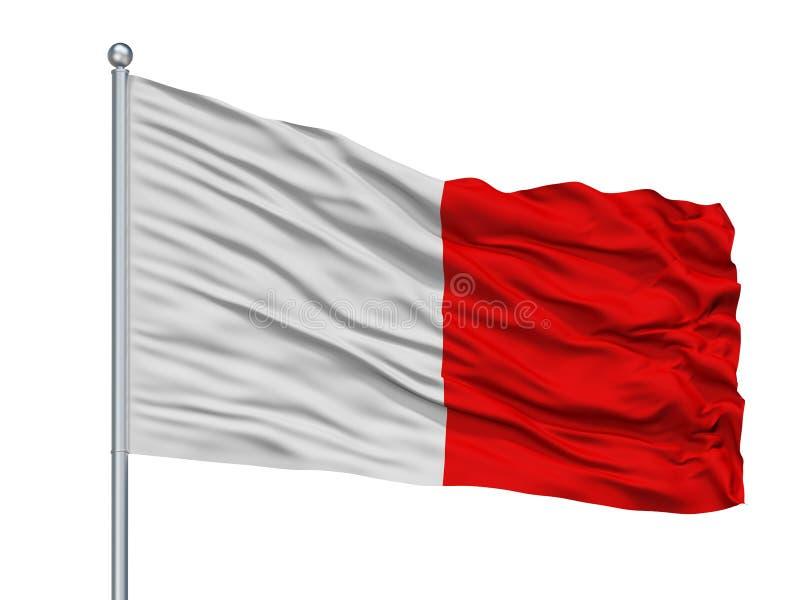 Bari City Flag On Flagpole, Italia, aislada en el fondo blanco ilustración del vector