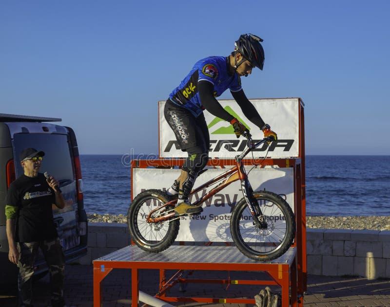 Bari, Italy - 6 April 2019: the trial biker Marco Lacitignola. Performing with his show at the `Bari pedala 2019` event stock image
