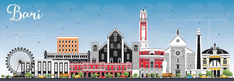 Bari Italy City Skyline com Gray Buildings e o céu azul ilustração royalty free
