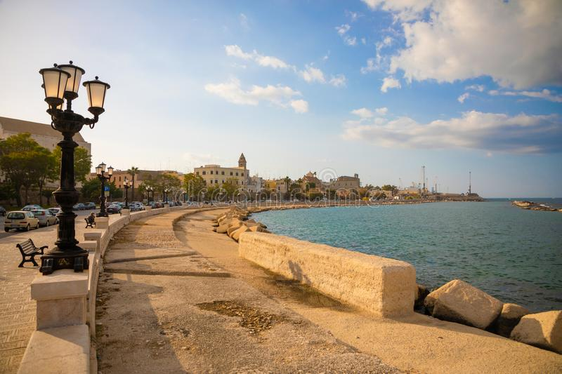 Bari, Italy - 5.05.2018: Embankment of small south town Bari at sunset time, Italy royalty free stock photo