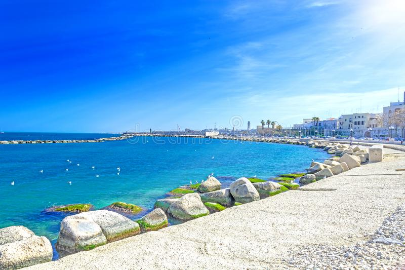 Bari  seasfront In Puglia, Italy. Bari seafront Mediterranean & x28;Adriatic& x29; Sea promenade in Puglia, Italy, view, town, south, blue, port, apulia, sky stock photo