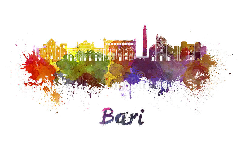Bari skyline in watercolor royalty free illustration