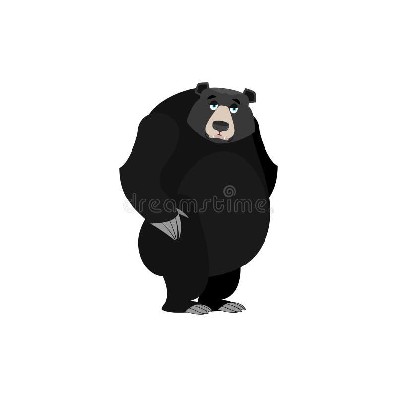 Baribal Emoji triste Emoción wailful americana del oso negro aislada ilustración del vector